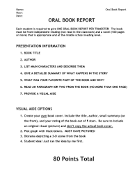 ORAL BOOK REPORT RUBRIC   PAMS Dwilliams MiddleWeb Rubrics Image