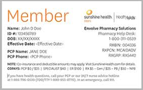 Kids™ Sunshine Id Healthy Cards Health Member