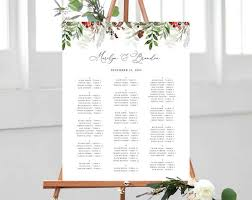 Winter Wedding Seating Chart Template Alphabetical Seating Chart Christmas Wedding Seating Board Instant Download Templett W46