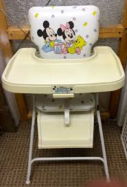vintage 1984 high chair graco disney es mickey minnie mouse folds up