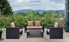 oahu brown 4 piece outdoor patio set from armen living coleman furniture