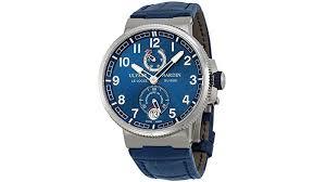 ulysse nardin marine chronometer blue alligator leather mens watch 1183 126 63