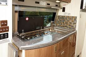 galley layout is practical with flip up countertop extension shown down three
