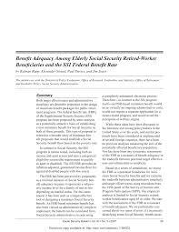 Pdf Benefit Adequacy Among Elderly Social Security Retired