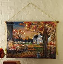 Fall Lighted Canvas Lighted Autumn Harvest Pumpkin Canvas Wall Hanging
