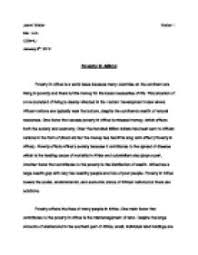 essay about poverty in the world  world poverty essays and papers