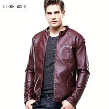 mens faux leather jacket black brown red autumn winter jacket for men slim fit faux leather mens faux leather jacket
