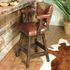 Western Furniture Waller Western Tooled Leather Barstool Lone