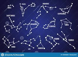 установите звезд созвездия знаков зодиака на предпосылке неба