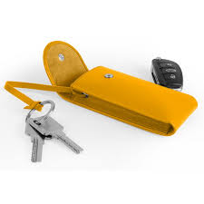 key holder sun yellow smooth leather key holder sun yellow smooth leather