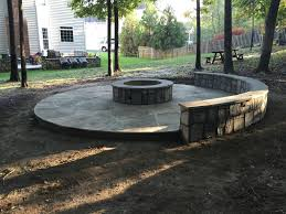 flagstone patio with fire pit. Outdoor Stone Fire Pit Seating Wall Circular Flagstone Patio Ashburn Virginia With