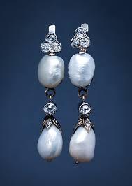 a pair of art nouveau baroque pearl drop earrings