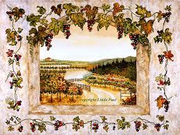 wine decor grapes vine vineyard art on canvas and tile on tuscan vineyard wall art with tuscan vineyard wall mural nisartmacka