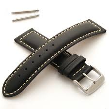 mens leather watch strap padded with white stitching buckle and spring bars 18mm