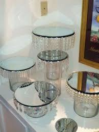 Candy Table Display Stands Wedding candy display with tulle crystals and sparkles that 2