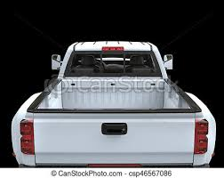 White pickup truck - back view.