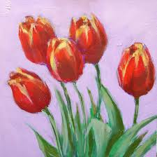 renewal 6x6 acrylic painting of tulips by kelley macdonald