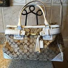 Image is loading COACH-10508-Hamptons-Signature-Tote-Carryall-Bag