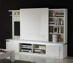 modern tv wall unit in white lacquer