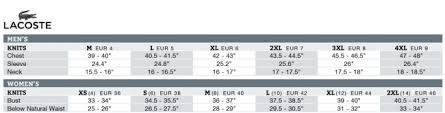 Lacoste Size Chart Www Bedowntowndaytona Com