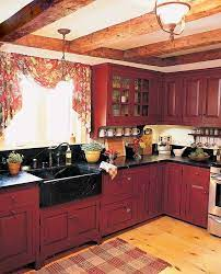Picket Fence Projects Idea Box By Homey Home Design Rustic Kitchen Red Kitchen Cabinets Country Kitchen