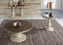alamosa metal and wood round coffee table set
