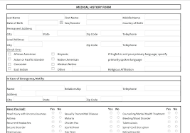 Personal Health Record Forms Medical Record Form Template