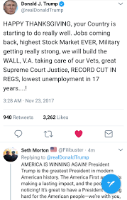 Thanksgiving is starting off amazing! Thank You President Trump ...