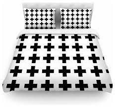 suzanne carter swedish cross black white duvet cover cotton twin contemporary