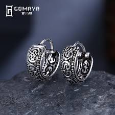 2019 <b>GOMAYA 925 Sterling Silver</b> Punk Round Vintage Hoop ...