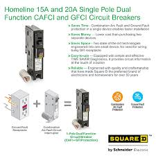 square d homeline 20 amp single pole dual function cafci and gfci info guides