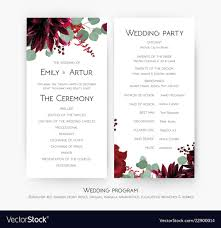 Wedding Ceremony Card Wedding Program For Party Amp Ceremony Card Vector Image