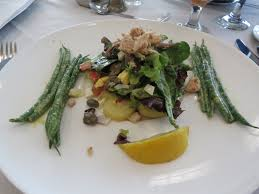 casola dining room. First Course In The Provence Themed Menu: Salad Nicoise. Casola Dining Room