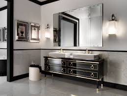 Italian Bathroom Suites Lutetia L1 Luxury Italian Bathroom Vanity In Black Lacquer Gold Wood