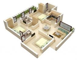 3 bhk modern house plans bungalow floor plan 3d small