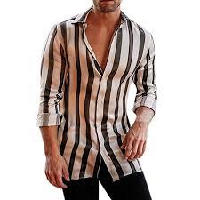Big Sales Anewoneson 2019 Mens Striped Long Sleeve Print