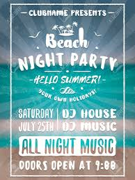 Beach Flyer Beach Party Flyer Or Poster Night Club Event Summer Night Party