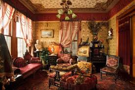victorian house furniture. Family Room With Victorian House Decoration Such Furniture And Wallpaper Statues Chandelier N