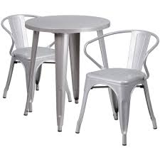 24 round silver metal indoor outdoor table set with 2 arm chairs ch