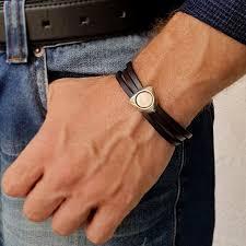 initials bracelet for men custom leather cuff for him
