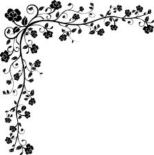 花のイラストフリー素材コーナーライン角 No132白黒茎葉