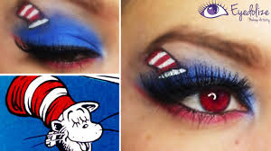 dr seuss cat in the hat inspired eyeshadow tutorial by eolizemakeup you