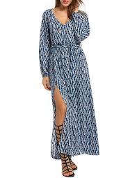 Meaneor Deep V Neck Dress Long Sleeve Side Slit Print Long