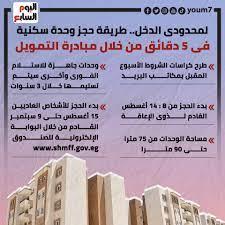 طريقة حجز وحدة سكنية من خلال مبادرة التمويل العقارى لمحدودى الدخل..  إنفوجراف - اليوم السابع