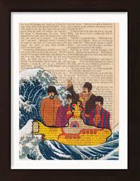beatles yellow submarine and hokusai s great wave on 1860 s antique page