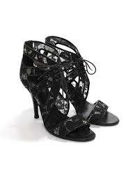 black leather and lace ankle heel sandals retail 640 size 37