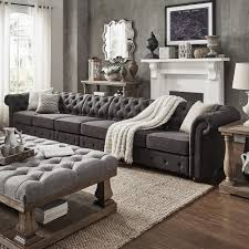 Knightsbridge Dark Grey Oversize 4 Seater Extra Long Tufted Chesterfield  Modular Sofa by iNSPIRE Q Artisan