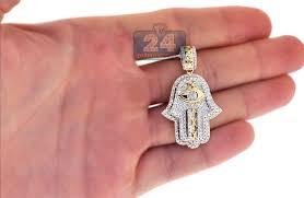 14k yellow gold 1 37 ct diamond hamsa hand evil eye pendant