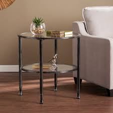 jaymes metal glass round end table in black southern enterprises ck8742