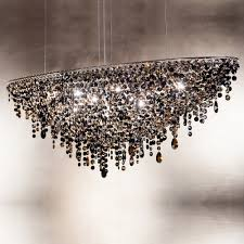 contemporary black oval crystal chandelier